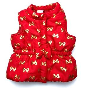 Healthtex Baby red puffer vest w good bows, 3-6m